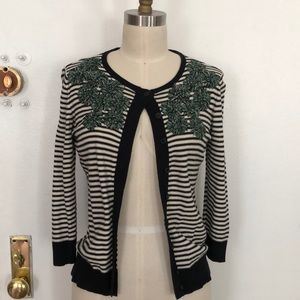 Tabitha Anthropologie striped embroidery cardigan